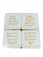 PROSECCO LOVERS GOLD EDITION  PACK OF 4 COASTERS EASY CLEAN HEAT RESISTANT